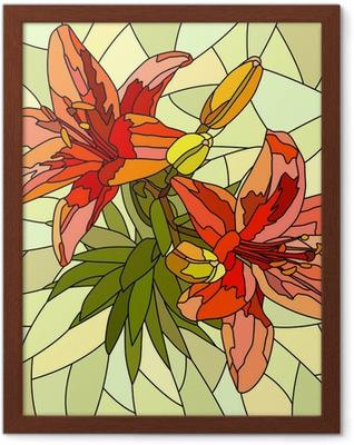 Vector illustration of flower red lilies. Framed Poster
