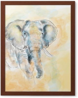 Poster en cadre Elephant aquarelle peinture imitation