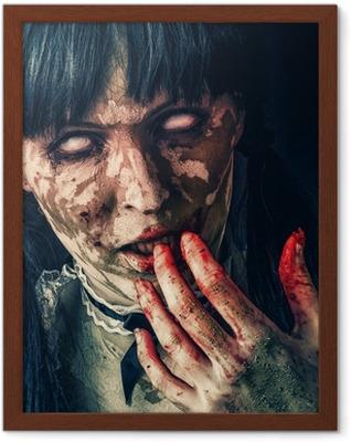 Plakat w ramie Scary kobieta zombie krwawymi oczami