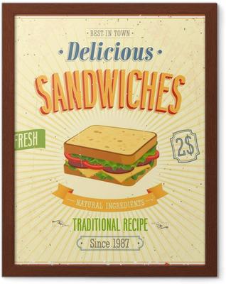 Gerahmtes Poster Weinlese Sandwiches Poster. Vektor-Illustration.