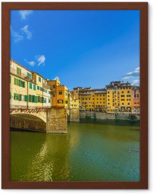 Gerahmtes Poster Ponte Vecchio auf Sonnenuntergang, alte Brücke in Florenz. Toskana, Italien.