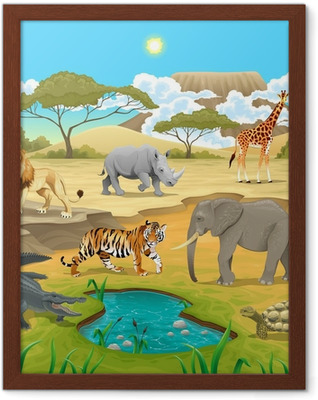 African animals in the nature. Framed Poster