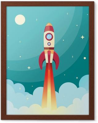 Plakat w ramie Drukuj rakieta kosmiczna