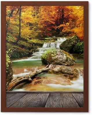 Poster en cadre Automne ruisseau bois avec des arbres jaunes