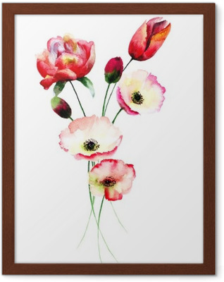 Gerahmtes Poster Mohn und Tulpen Blumen