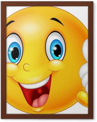 Poster en cadre Émoticône Bonne donnant thumb up isolé sur fond blanc