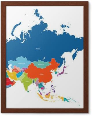Gerahmtes Poster Asien-Karte
