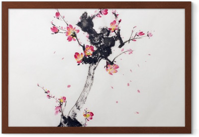 Poster en cadre Branche de cerisiers en fleur