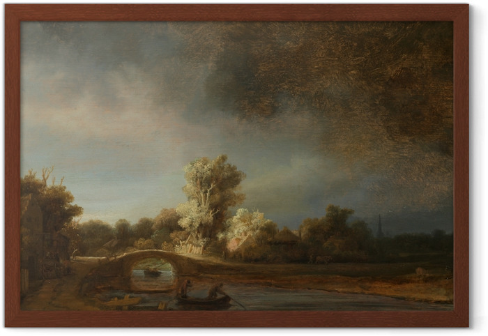 Ingelijste Poster Rembrandt van Rijn - Landschap met stenen brug - Reproducties