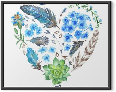 Ingelijste Poster Boho Style Watercolor Heart Shape