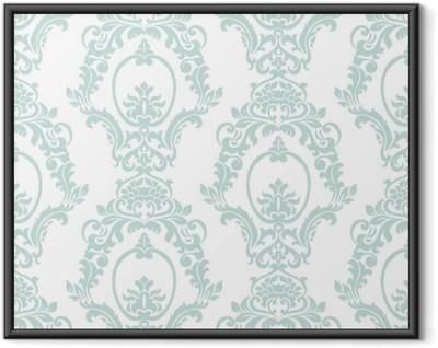 Poster en cadre Style impérial de vecteur damassé vintage style impérial. Élément floral orné pour le tissu, le textile, le design, les invitations de mariage, cartes de voeux, papier peint. couleur bleu opale