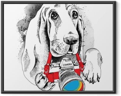 Ingelijste Poster De poster met de afbeelding van de hond met de camera. vectorillustratie