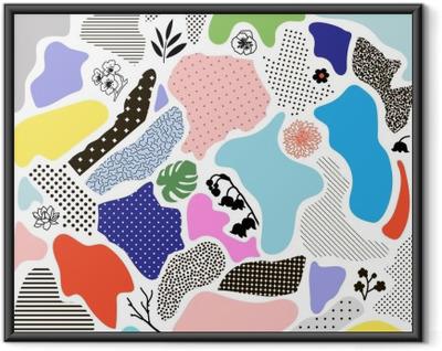 Gerahmtes Poster Kreative geometrischen Hintergrund mit floralen Elementen und verschiedenen Texturen. Vektor