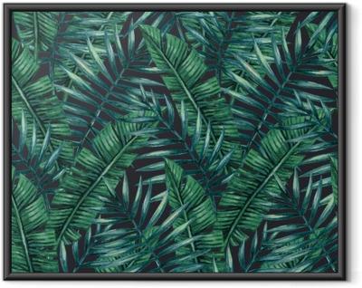 Plakat w ramie Akwarela tropikalnych liści palmowych szwu wzorca. ilustracji wektorowych.