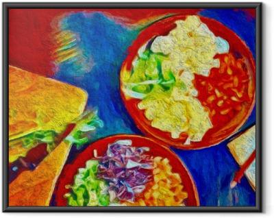 Poster en cadre Peinture d'art coloré numérique. affiche avec de la nourriture idéale pour la décoration café ou restaurante.