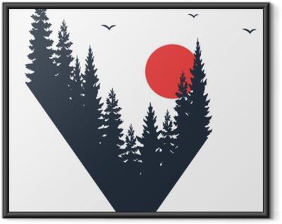Póster com Moldura Mão desenhada distintivo de viagem com ilustração vetorial de árvores de abeto texturizado.