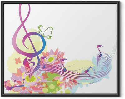Summer music with decorative treble clef Framed Poster