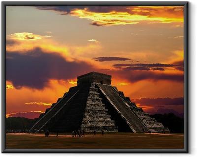 Ingelijste Poster De tempels van Chichen Itza in Mexico