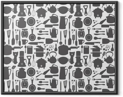 Gerahmtes Poster Seamless kitchen pattern