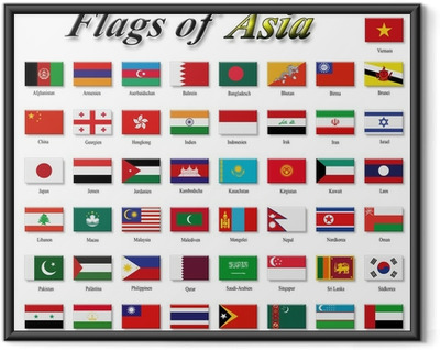 Flags of Asia Framed Poster