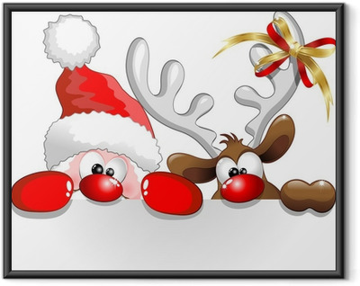 Póster Enmarcado Babbo Natale e Renna-Santa Claus y los renos de fondo