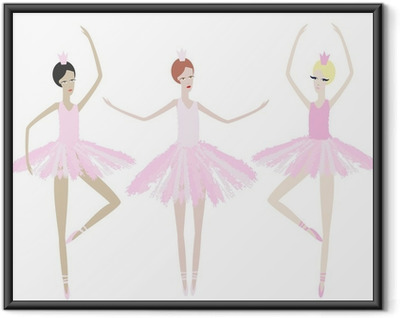 Plakat w ramie Trzy pełne wdzięku tancerki tańczą w identycznych sukienkach