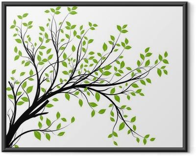 Póster Enmarcado Conjunto de vectores - rama decorativo verde y hojas