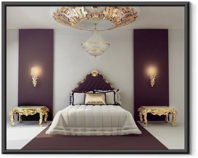 Gerahmtes Poster Luxus Doppelzimmer mit goldenen Möbeln im königlichen Innenraum