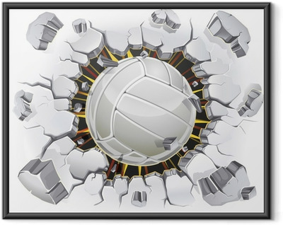 Volleyball and Old Plaster wall damage. Vector illustration Framed Poster
