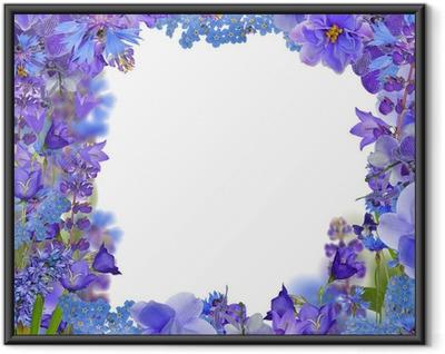 Ingelijste Poster Het frame fronm blauwe bloemen op wit