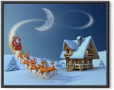 Plakat w ramie Scena nocy Boże Narodzenie - Santa Claus renifer sanie przejażdżki