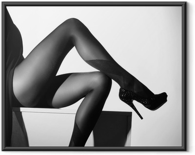Black and white photo of beautiful legs in stockings Framed Poster