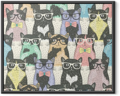 Seamless pattern with hipster cute cats for children Framed Poster