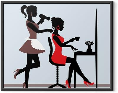 Plakát v rámu Samice silueta v kadeřnickém salonu.