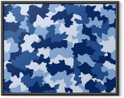 Gerahmtes Poster Blau Camouflage nahtlose Muster