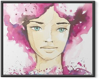 illustration of the abstract portrait of a woman Framed Poster