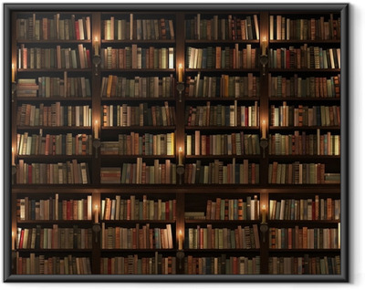 Póster Enmarcado Estante para libros. Textura transparente (vertical y horizontal)