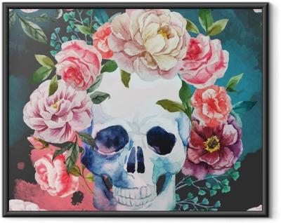 Ingelijste Poster De schedel van de waterverf