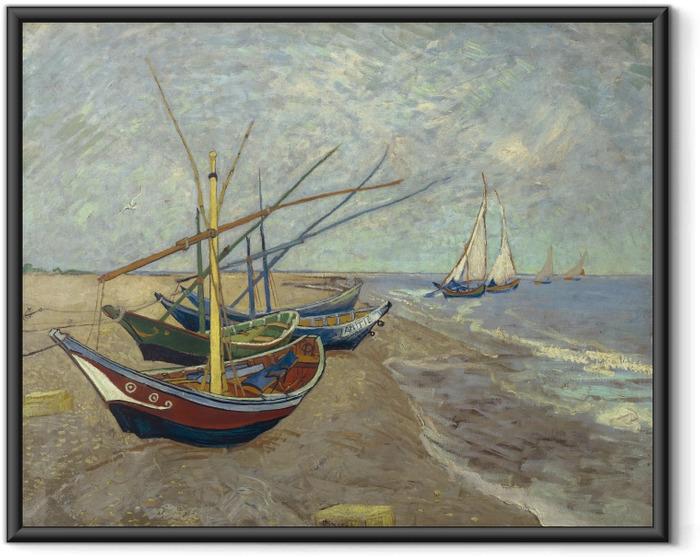 Plakat w ramie Vincent van Gogh - Łodzie rybackie na plaży Saintes-Mariedela-Mer - Reproductions
