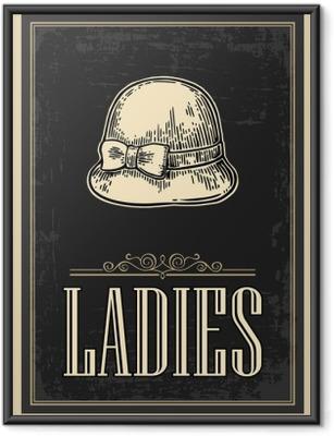 Poster in Cornice Servizi igienici poster retrò d'epoca grunge. Le signore. Vector vintage illustrazione incisa su uno sfondo nero. Per bar, ristoranti, caffè, pub