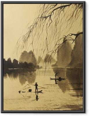 Poster i Ram Asiatiska bergen och sjön