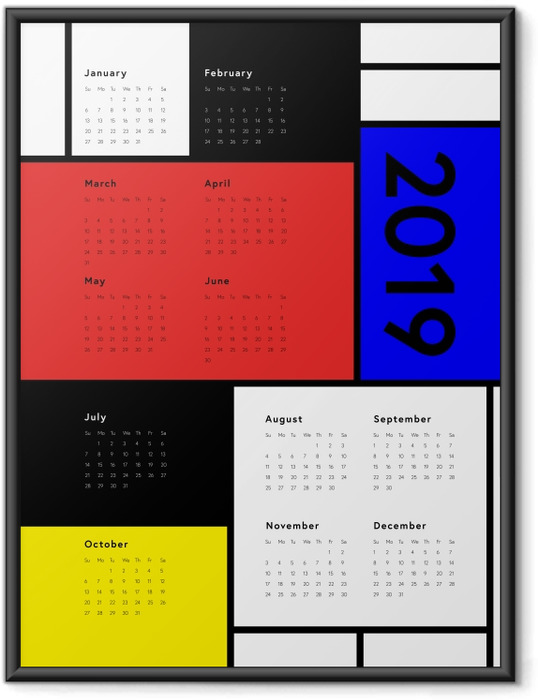 Ingelijste Poster Kalender 2019 - Art -