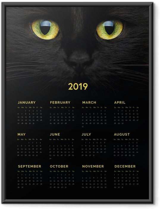 Çerçeveli Poster Takvim 2019 - Kara kedi -