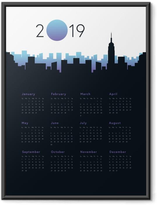 Plakát v rámu Kalendář 2019 - City -