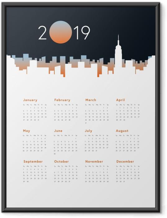 Çerçeveli Poster Takvim 2019 - Şehir panorama -