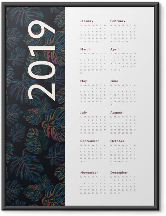 Çerçeveli Poster Kalendarz 2019 - çiçek -