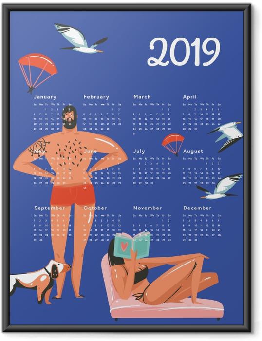 Ingelijste Poster Kalendarz 2019 - rust op het strand -