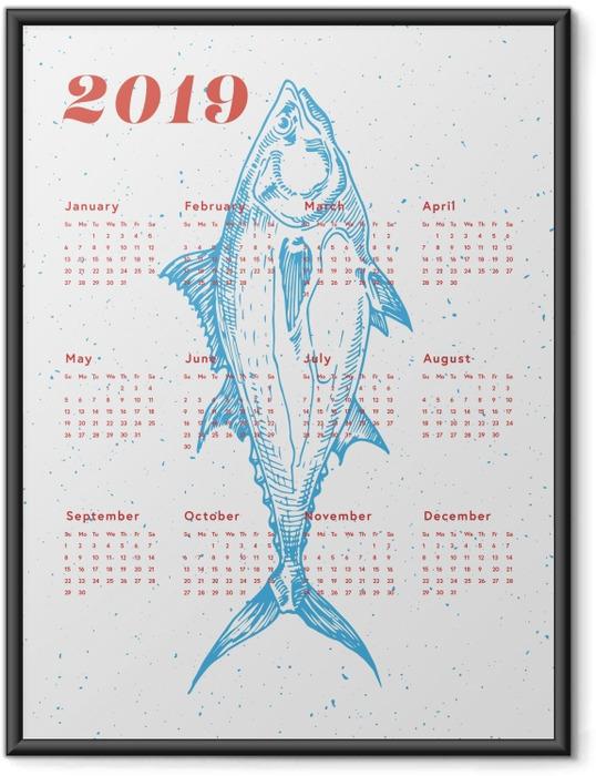 Plakat w ramie Kalendarz 2019 - ryba - Kalendarze 2018