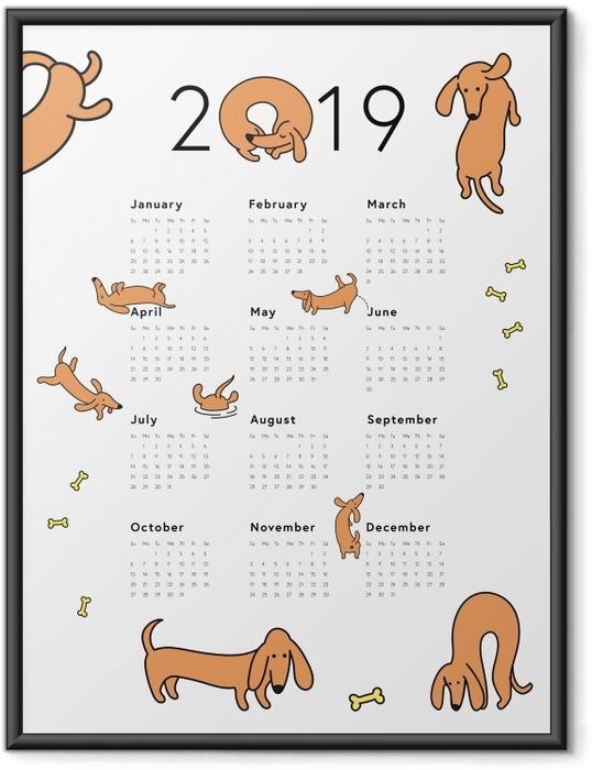 Çerçeveli Poster Takvim 2019 - Köpekler -