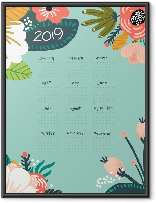 Poster en cadre Calendrier 2019 - turquoise et fleurs -